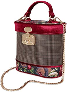 Women vintage style handbag shoulder bag with gold chain strap and push closure lock for functions like parties, cocktail, weddings, and receptions