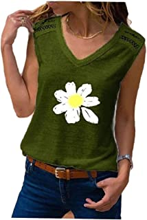 HEFASDM Women's Short-Sleeve Sleeveless V Neck Blouse Painting Tees Top