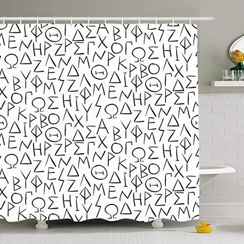 Conjunto de cortina de ducha con ganchos Patrón Escritura Letras griegas con escritura abstracta Epsilon Letra alfa Texturas pasadas de moda Impermeable Tejido de poliéster Decoración de baño para bañ