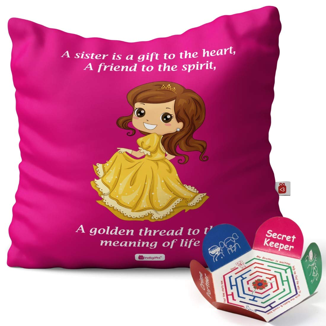 Indigifts Rakhi Gift for Sister My Golden Thread of Life Quote Magenta  Cushion Cover 20x20 inches with Filler   Raksha Bandhan Gifts for Sister,  ...