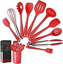 ادوات طبخ من السيليكون غير اللاصق مقاوم للحرارة وسهل التنظيف وتشتمل مجوعة الملاعق على 11 قطعة، احمر