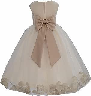 Ivory Tulle Rose Petals Flower Girl Dress Wedding Gown Tulle Dresses 302T