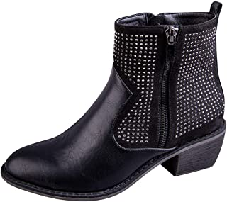 Ankle Boots for Women,QueenMM Casual Faux Leather Stacked Low Heel Side Zipper Winter Booties Fashion Chelsea Boots