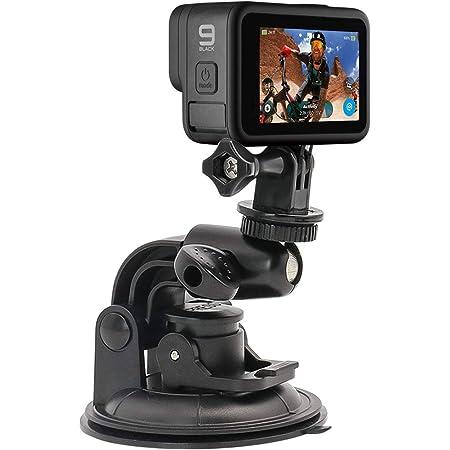 WOLEY車載ホルダー ユニバーサル アクションカメラカーマウント 吸盤式 フロンドガラス取り付けるデジタルカメラマウント 超大90mmサクションカップマウントカメラホルダー 1/4カメラネジ 360度回転可能 車載Go Proマウントスタンド