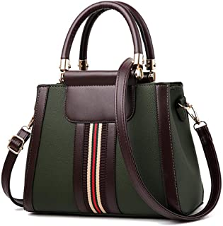 Handbags for Women,Women's Shoulder Bags PU Leather Stripe Handbags Top-Handle Purse For Ladies