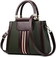 Handbags for Women,Women's Shoulder Bags PU Leather Stripe Handbags Top-Handle Purse For Ladies