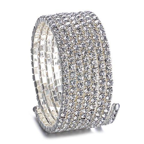 Trimming Shop Tienda de Recorte 7 Fila de Plata Brazo Superior Brazalete Pulseras Swirl Rhinestones Diamante Diamantes Accesorio de Moda para Mujeres Señoras Niñas