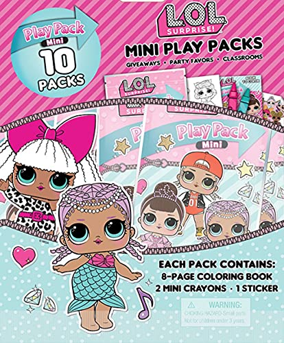Bendon LOL Dolls Mini Play Packs, Each with Mini Coloring Book, 2 Mini Crayons, and a Sticker,10-Pack