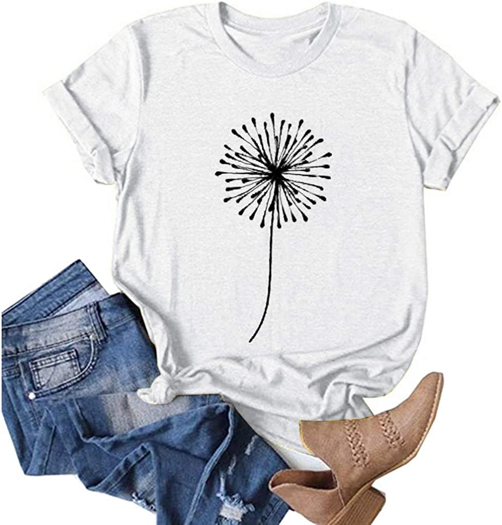 Aukbays Womens Summer Tops Dandelion Graphic Vintage Tees T-Shirt O Neck Short Sleeve Casual Loose Shirts Blouses Tunic