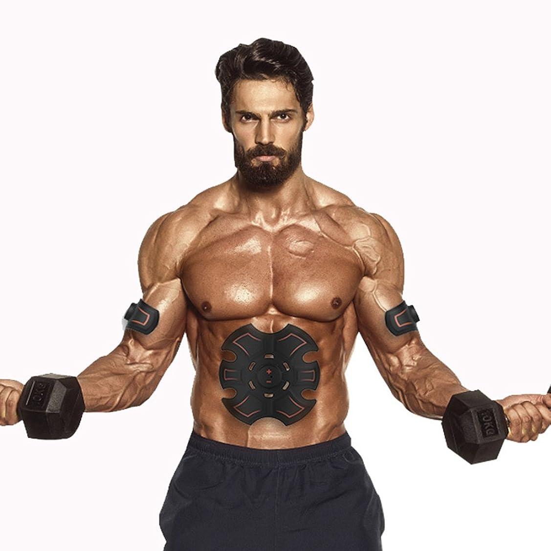 九月最初に細心のGBR- 腹部の筋肉Toner?2018腹部の筋肉EMSスマート腹部の腹部の人工物のマッサージャーミニ腹部のステッカー(黒+赤)