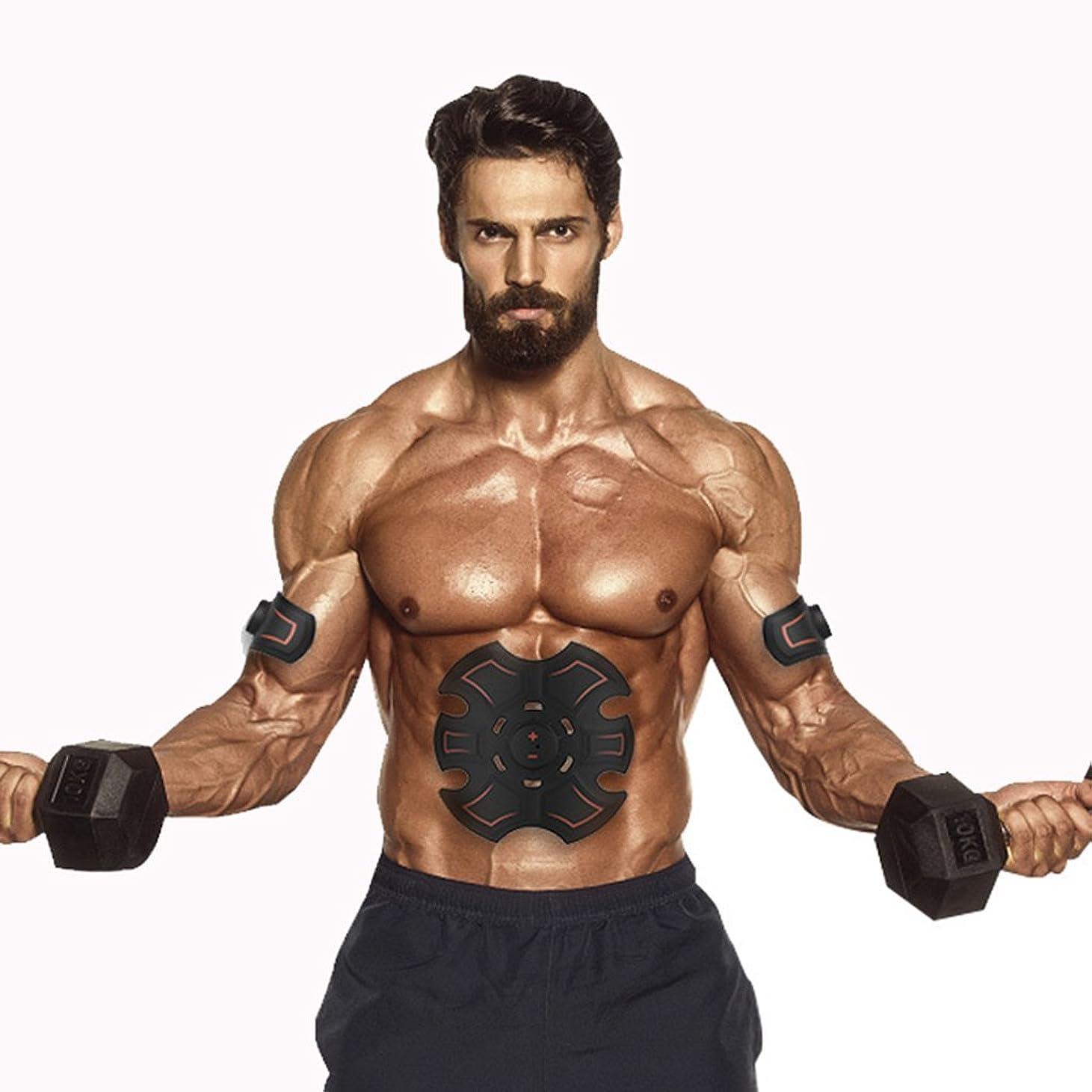 確執会話もちろんGBR- 腹部の筋肉Toner?2018腹部の筋肉EMSスマート腹部の腹部の人工物のマッサージャーミニ腹部のステッカー(黒+赤)