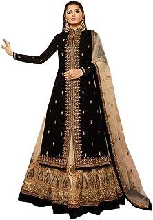 Black Muslim Festive Hindu Diwali Party wear Satin Georgette Lehenga style Salwar Kameez Indian Women Suit Semi-stitch 8651