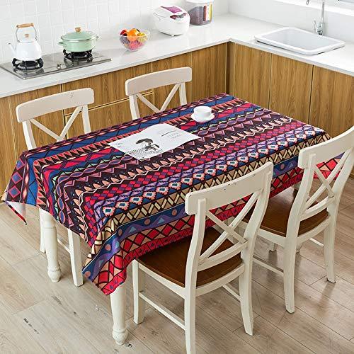 XXDD Mantel de diseño Creativo Mantel de decoración de Año Nuevo Geométrico Impermeable Copo de Nieve Bohemio Cubierta de Mantel A14 135x135cm