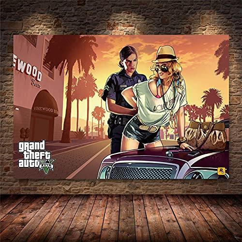 Weijiajia Grand Theft Game Auto V Video GTA 5 Lienzo Pintura Carteles e Impresiones Arte de Pared para Sala de Estar Dormitorio Decoración de Juegos 50x70cm F-189