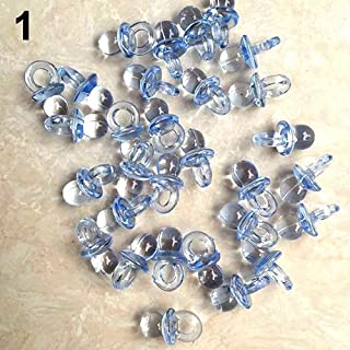 shengyuze Baby Products Accessories 50 Pcs Clear Acrylic Mini Pacifiers Baby Shower Party Favor Girl Boy Game Decor - Blue