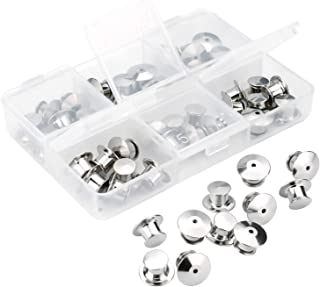 SUBANG 40 Count Pin Backs Locking Bulk Metal Pin Keepers Locking Clasp with Storage Case