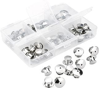 SUBANG 40 Pieces Metal Pin Backs Locking Pin Keepers Locking Clasp with Storage Case