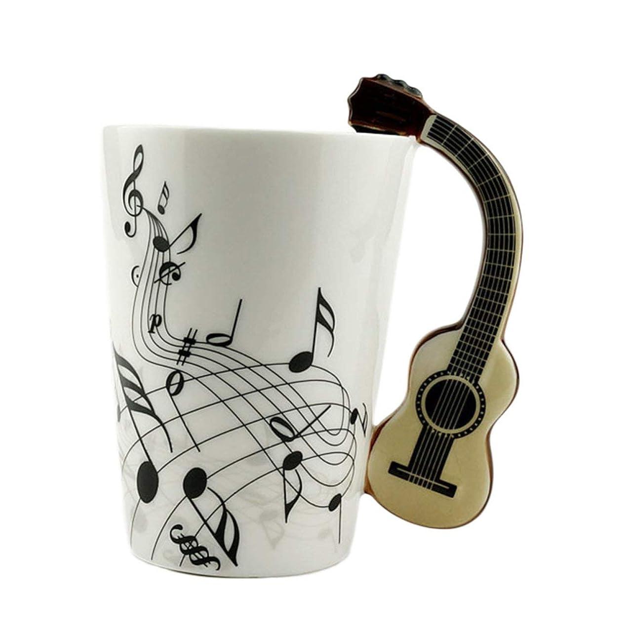 話をする正統派彫刻家Saikogoods ノベルティアートセラミックマグカップ楽器は スタイルのコーヒーミルクカップクリスマスギフトホームオフィスカップ グラスに注意してください。 ホワイトボディギター