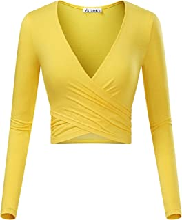 010089f326128 VETIOR Women s Deep V Neck Long Sleeve Unique Slim Fit Coss Wrap Shirts  Crop Tops