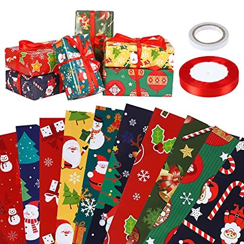 Papel Para Envolver Regalos 10 piezas Cumpleaños Papel Regalo Grandes de Papel de Envolver navideño Papel para Envolver Regalos Navidad Papel de Regalo Reciclable para Navidad bodas 50cm x 70cm