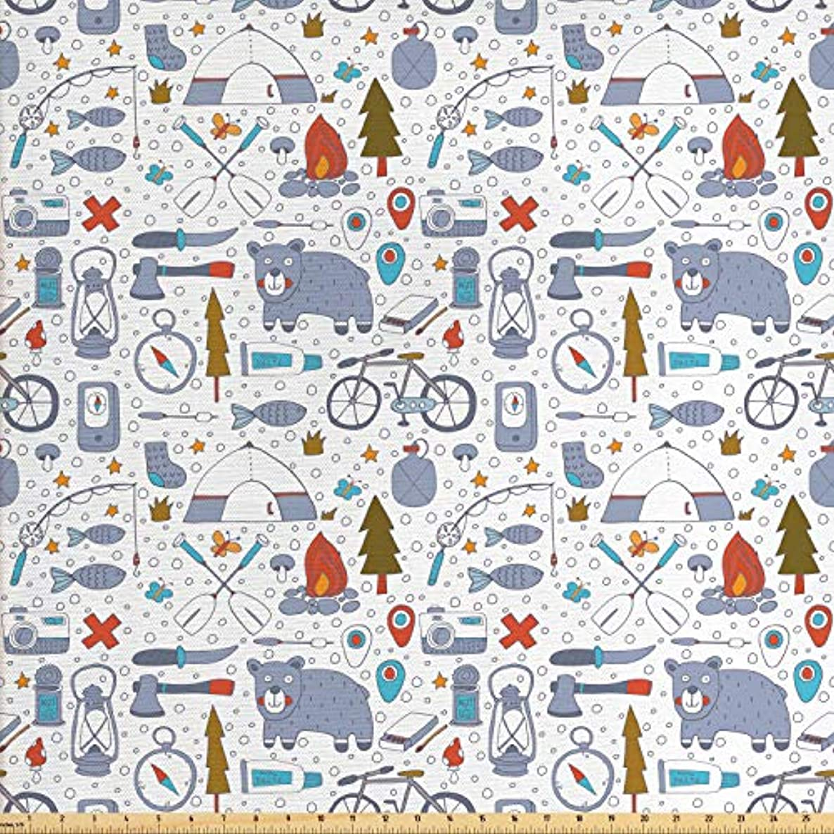 Lunarable Camping Fabric by The Yard, Cartoon Bear Tent and Compass Outdoor Hobby Theme Hiking Doodle, Decorative Fabric for Upholstery and Home Accents, 1 Yard, Bluegrey Vermilion and Blue