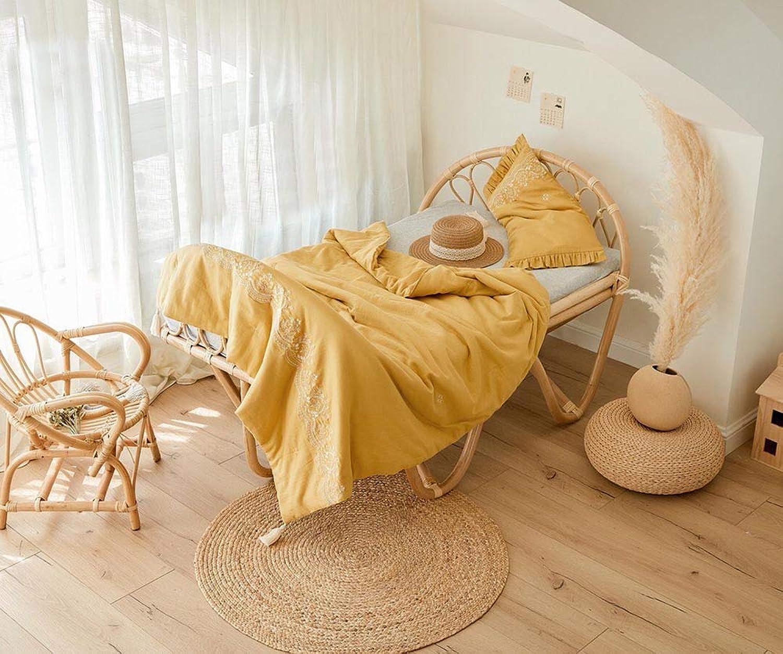 Couvre-lit brodé Couvre-oreiller en coton biologique Couvre-lit en coton biologique-jaune-E