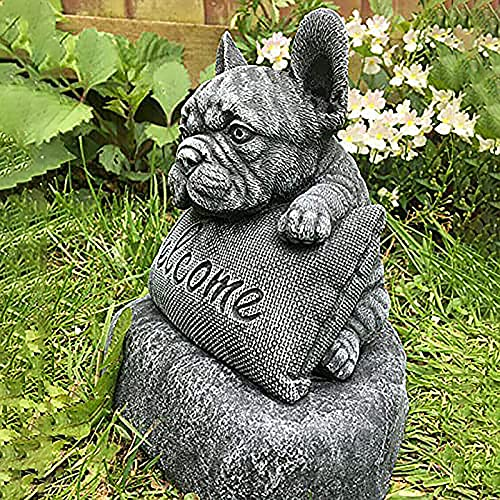 French Bulldog Welcome Garden Statue with Plinth Puppy Dog Welcome Sign Sculpture Funny Animal Miniature Figurine Outdoor Decor Ornament for Yard Patio Lawn Home Garden Accessories Decoration (A)