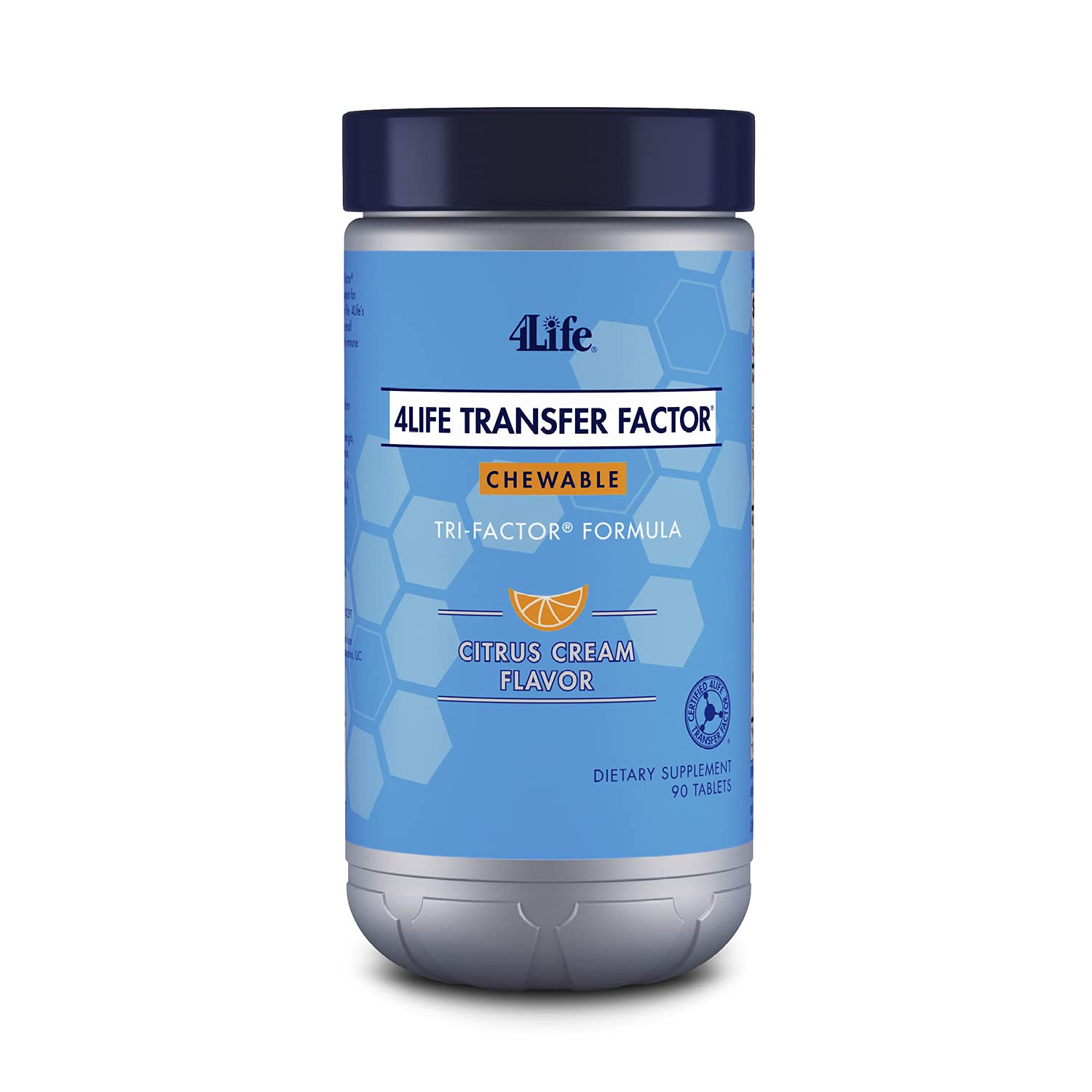 4Life Transfer Factor Chewables Tri-Factor Formula - Immune Support with Extracts of Cow Colostrum and Chicken Egg Yolk - Citrus Cream Flavor - 90 Chewable Tablets
