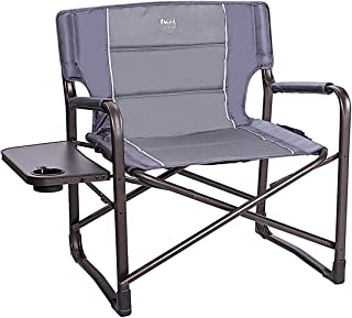 Timber Ridge Directors Chair Supports 600lbs XXL Oversize Folding Camping Heavy Duty Steel Frame Full Padded with Side Table and Armrest
