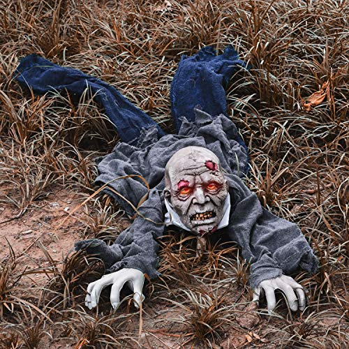 61 Inches Crawling Zombie Halloween Decorations Light Up Eyes with Sound Effect for Yard Decorations, Design with Motion…