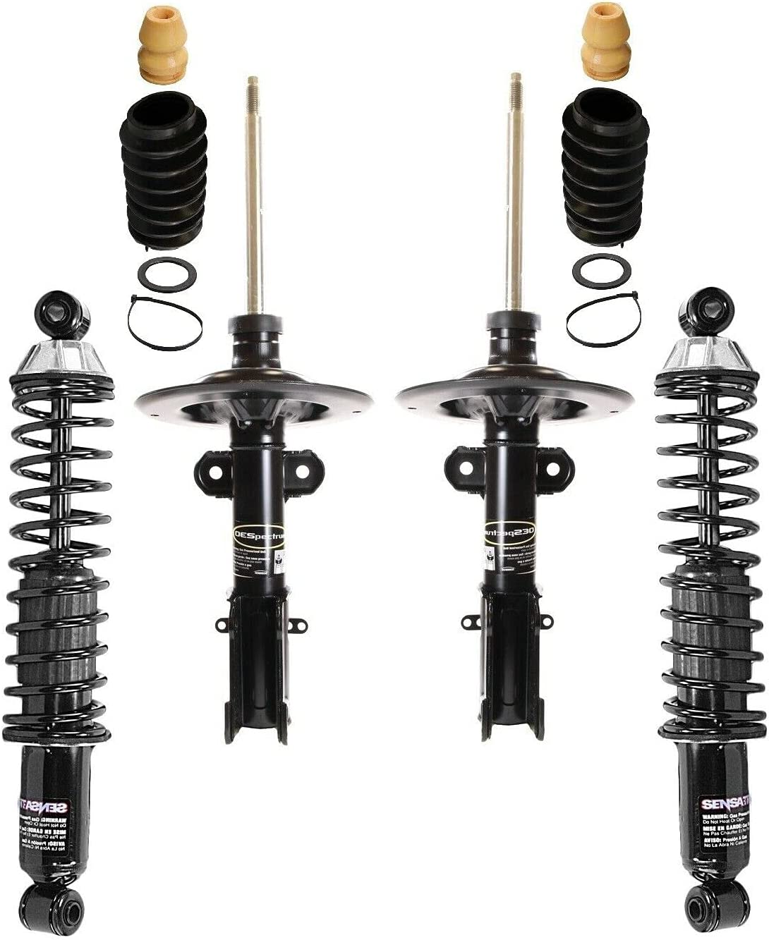 Front Rear Struts Shocks Bellows Mail order Compatible kit San Diego Mall with Chrys