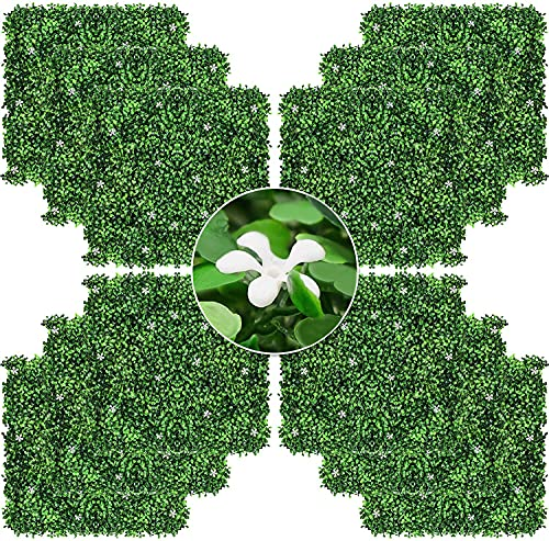 """12 Pieces 20""""20"""" Artificial Boxwood Panel Green Grass Wall with White..."""