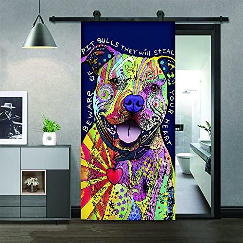 Cachorro pintado-6,Etiqueta engomada del mural de la puerta del arte moderno 3D vinilo desprendible y pegajoso extraíble (77x200cm) etiqueta engomada de la puerta de la decoración del hogar