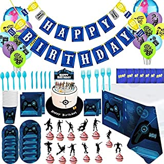 86 Pcs Fortnite Video Game Party Supplies Happy Birthday Cake Banners Topper Favors Foil Latex Balloons Video Gaming Party...