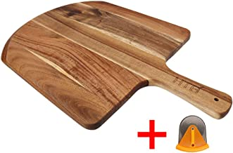 Acacia Wood Pizza Peel With Cutter, 19 x 12 Inch Paddle Board Great for Homemade Pizza, Cheese and Charcuterie