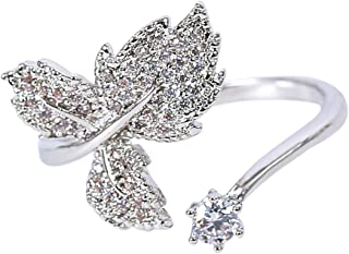 MOONSTONE Fashion Ring For Women Stunning Leafy Crystal Embellished Adjustable Size, Silver Plated