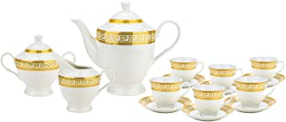 Imperial Gifts 1347B-17, Porcelain Greek Gold 17 Pieces Tea Set, Serving Set, Tea Party Set