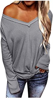 Women's Pullover V Neck Long Sleeve Waffle Knit Tops Off Shoulder Sweater E-Scenery