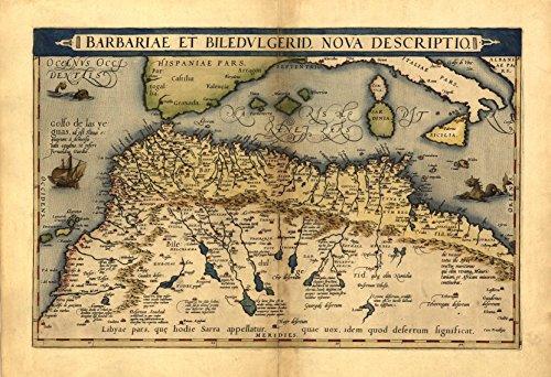 Reproducción Abraham Ortelius mapa de berbería, el norte de África desde Marruecos a Túnez (Egipto, Libia, Mediterranean) mapa color 48 x 33 cm