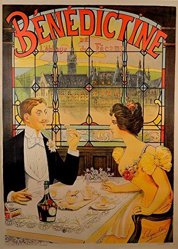 Vintage Cervezas, vinos y licores Benedictine de l \'abbaye de Fecamp, París, Francia, 1910. 250gsm Brillante Art Tarjeta A3reproducción de póster