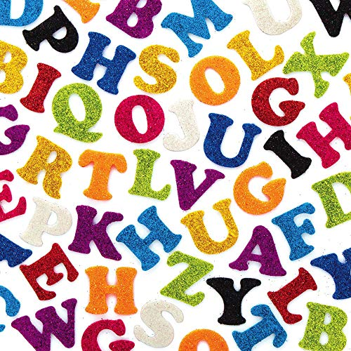 Baker Ross AX360 Selbstklebende Glitzer Filzbuchstaben - 500 Stück, Kreative Künstler- und Bastelbedarf zum Basteln und Dekorieren zur Winterzeit