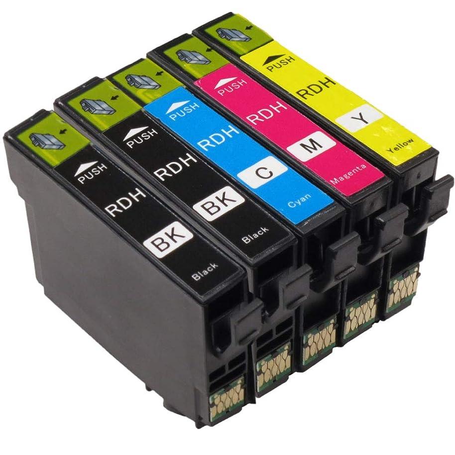 助けになるスコア回転エプソンRDH-4CL 互換インクカートリッジEPSON 4色1SET+ブラック1本RDH-BK-L ×2 (増量ブラック)/C/M/Y全5本大容量 プリンターインク対応機種:PX-048A PX-049AICチップ有残量表示機能付(BK黒x2個 CMY)
