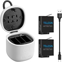 TELESIN 2-Pack Replacement Batteries and Allin Box Charger with High Speed USB 3.0 SD Card Reader Function, Waterproof Storage Carry Case for GoPro Hero 8 Hero 7 Black Hero (2018) Hero 6 Hero 5 Black