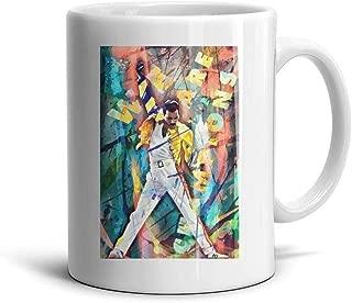 HGT-YUS White Ceramic Glossy Coffee Mug 11 oz Freddie-Mercury-Freddie-Mercury-sampad-Art- Inspirational Drinks Cup