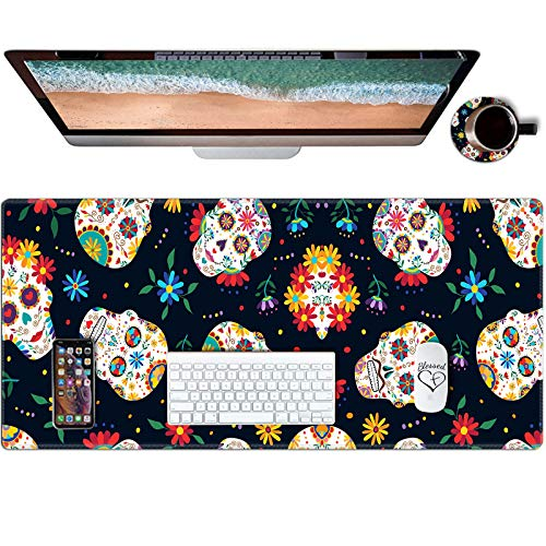 Desk Pad, Gaming Mouse Pad Extended Mouse Mat with Stitched Edge, AUOX Large Mousepad XL 31.5' x 11.8' Non-Slip Rubber Base Keyboard Pad for Laptop Office Computer Home & Coasters, Sugar Skulls