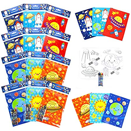 Amazon.com: TINYMILLS Outer Space Coloring Book For Kids Party Favor Set  With 12 Coloring Books And 48 Crayons Space Astronaut Rocket Birthday Party  Supplies Outer Space Party Favor Bag Fillers: Office Products