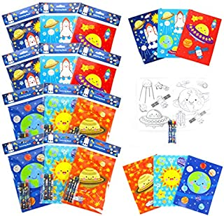 Outer Space Coloring Books with Crayons Party Favors, Set of 12