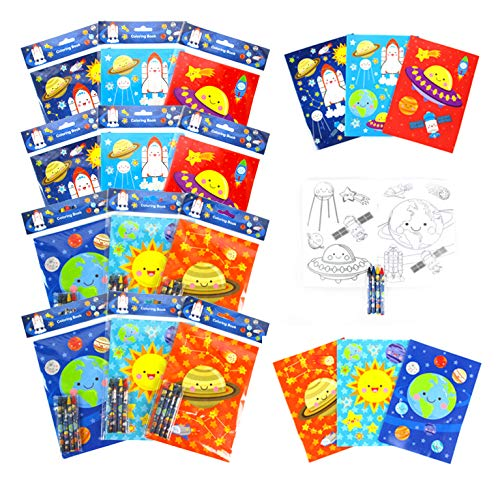 TINYMILLS Outer Space Coloring Book for Kids Party Favor Set with 12 Coloring Books and 48 Crayons Space Astronaut Rocket Birthday Party Supplies Outer Space Party Favor Bag Fillers