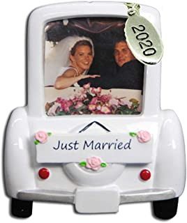 Twisted Anchor Trading Co Our First Christmas Ornament 2020 Wedding Car Picture Frame Ornament with Bride and Groom - Easy...