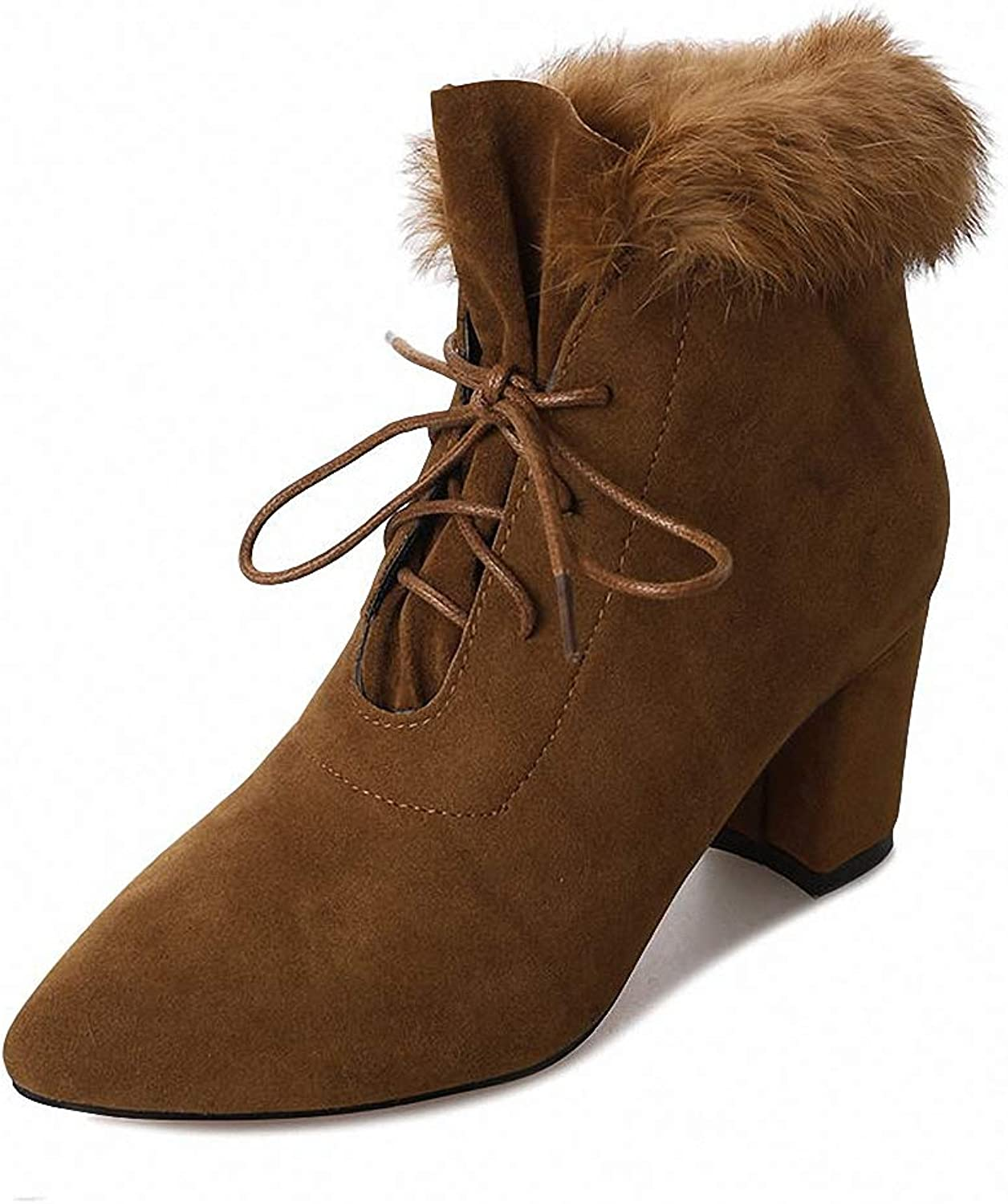 Kyle Walsh Pa Women shoes,Woman Boots Warm Winter Pointed Toe with Faux Fur High Heels